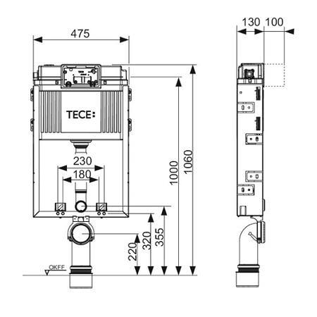 Смывной бачок Uni TECEbox скрытого монтажа для установки подвесного унитаза, TECE
