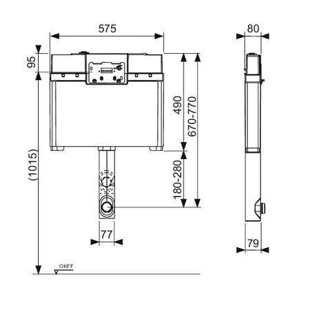 Застенный смывной бачок для установки с напольным унитазом, глубина 8 см, TECE