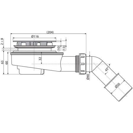Выпускной комплект для душевого поддонa с толстыми стенами, A492CR, Аlcaplast