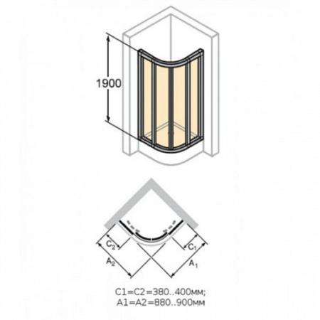 Душевой уголок X1 90Х90см, HUPPE