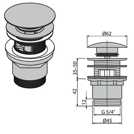 Донный клапан с переливом для раковины, Alcaplast.