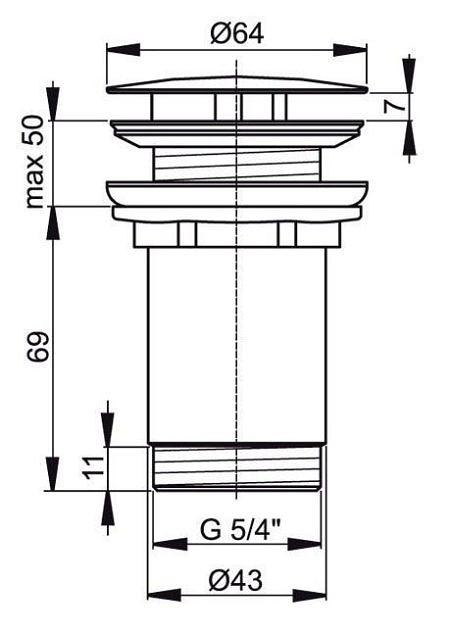 Донный клапан без перелива для раковины, AlcaPlas