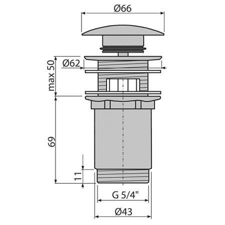Донный клапан с переливом для раковины AlcaPlas хром 2
