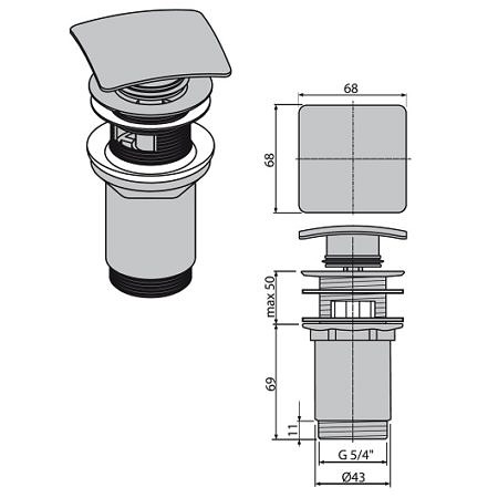 Донный клапан с переливом для раковины, AlcaPlas