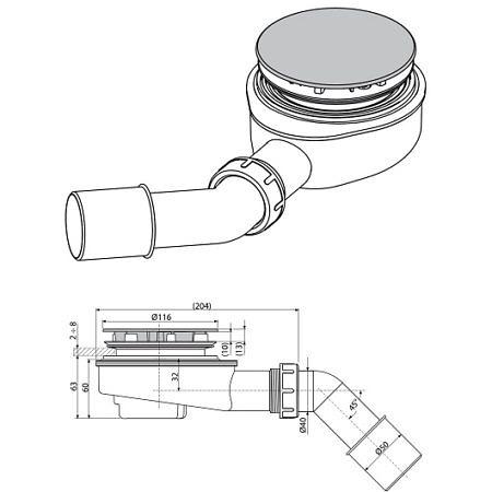 Выпускной комплект для душевого поддона, A491CR, Аlcaplast