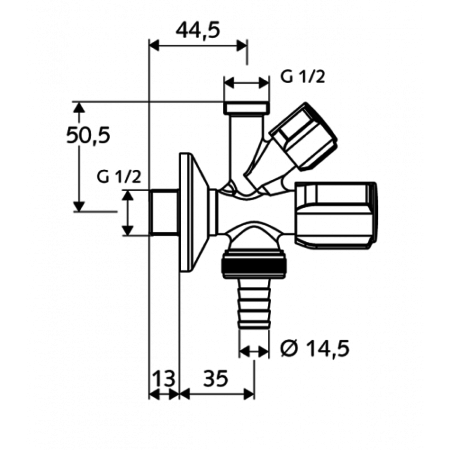 """Угловой вентиль для стиральной машины 1/2""""х 1/2"""" х Ø 14.5(3/4"""") Schell"""
