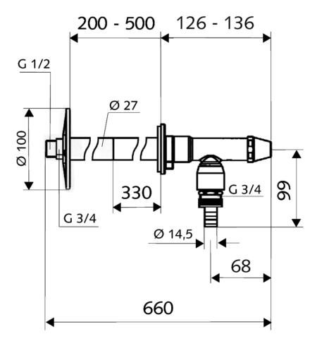 "Кран садовый Polar II 200-500мм 1/2"", Schell"