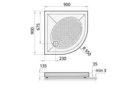 Полукруглый душевой поддон 90х90 см из литого камня с панелью и регулируемыми ножками. PAA