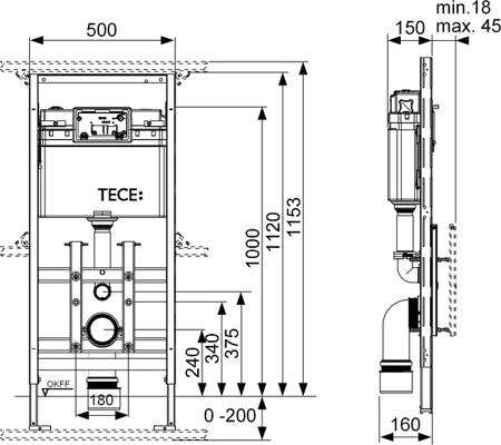 Застенный модуль TECElux 100, базовая комплектация.