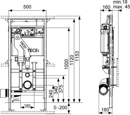Застенный модуль TECElux 400, с регулировкой высоты и системой очистки воздуха.