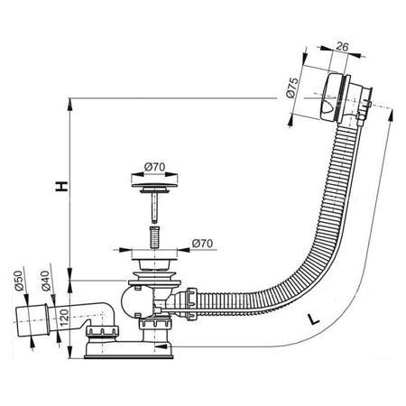 Сифон для ванны, автомат, длина 57 см, Alcaplast