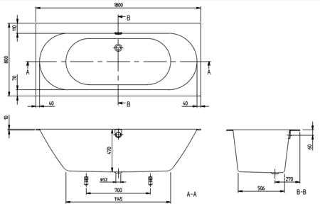 Ванна квариловая 1800х800 мм Oberon 2.0 с ножками Villeroy&Boch