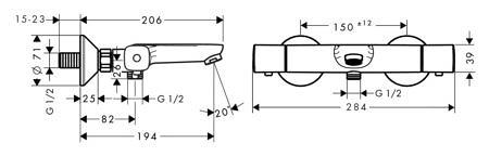 Термостатический смеситель для ванны Ecostat universal, Hansgrohe