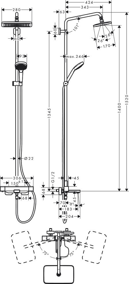Душевой набор Croma E с термостатом 280 1 Iet Hansgrohe