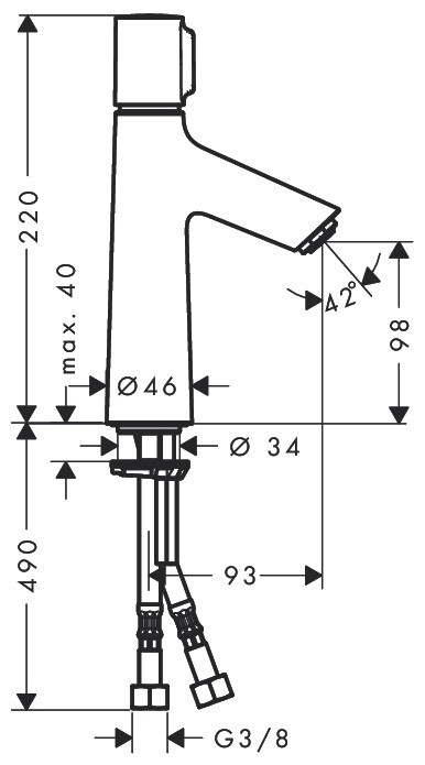 Смеситель для раковины Talis Select S 100, Hansgrohe