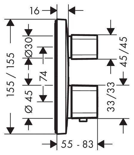 Термостатный Hansgrohe Ecostat E смеситель для ванны и душа Hansgrohe