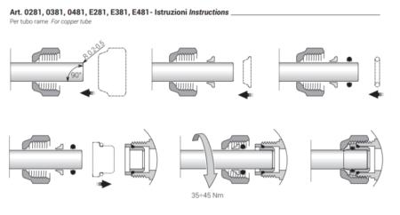 Адаптер для медной трубы DN15-24-19 SR Rubinetterie