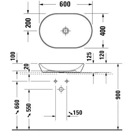 Раковина накладная 600х400 без перелива, без отв. под смеситель, Duravit D-Neo