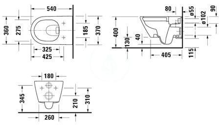 Комплект подвесного унитаза 560х400 мм, D-Neo, Duravit Rimless