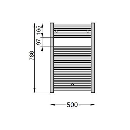 Полотенцесушитель 786х494 мм, по осям 456 мм,Virando Zehnder