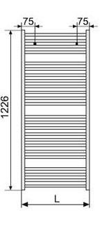 Полотенцесушитель 1226х494 мм, по осям 456 мм,Virando Zehnder