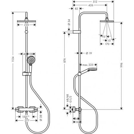 Душевая система Showerpipe 230 1jet с термостатом Vernis Shape, Hansgrohe