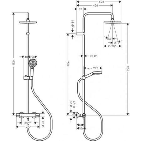 Душевая система Showerpipe 200 1jet с термостатом Vernis Shape, Hansgrohe
